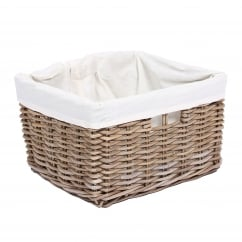 Rectangular kooboo grey wicker basket with lining 40x30x35cm