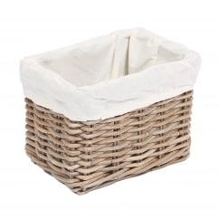Rectangular kooboo grey wicker basket 20x28x20cm