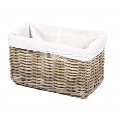 Rectangular kooboo grey wicker basket 41x25x25cm