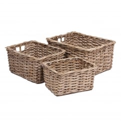 Set of 3 rectangle wicker baskets with handle in kooboo grey
