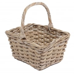 flower basket in kooboo grey wicker