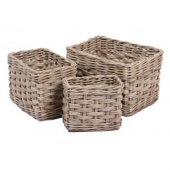 Set of 3 rectangle wicker baskets in kooboo grey