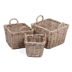 Set of 3 square wicker baskets with handle in kooboo grey