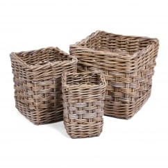 Set of 3 square wicker baskets in kooboo grey