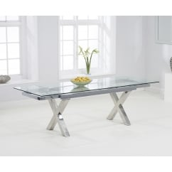 Cilento 160cm clear glass extending table