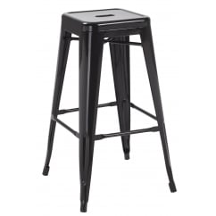 Hoxton black metal stackable barstools pair