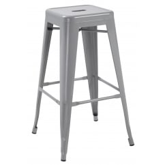 Hoxton silver metal stackable barstools pair