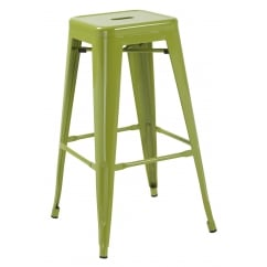 Hoxton green metal stackable barstools pair