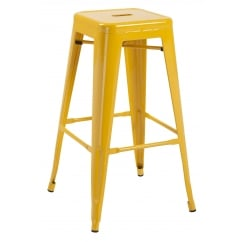 Hoxton yellow metal stackable barstools pair