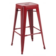 Hoxton red metal stackable barstools pair