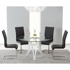 Bellevue round 130cm glass dining table and 4 malibu chairs black
