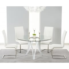 Bellevue round 130cm glass dining table and 4 malibu chairs white