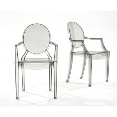 Graves dark clear dining armchair pair