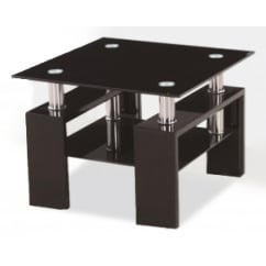 Metro black glass side table