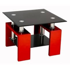 Metro red and black glass side table