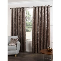 Plush champagne readymade eyelet curtains