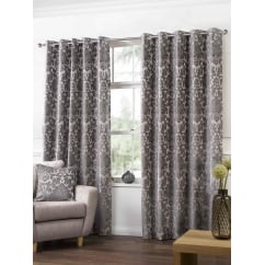 Camden latte woven chenille readymade eyelet curtains
