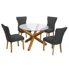 Oporto oak and glass 106cm round dining table with 4 naples grey fabric chairs