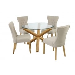 Oporto oak and glass 106cm round dining table with 4 naples beige fabric chairs