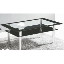 Clio black glass coffee table