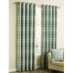 Lomond duckegg check eyelet readymade curtains