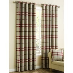 Lomond red check eyelet readymade curtains