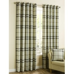 Lomond natural check eyelet readymade curtains