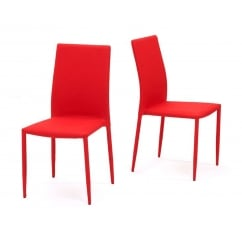 Ava red stackable fabric dining chairs