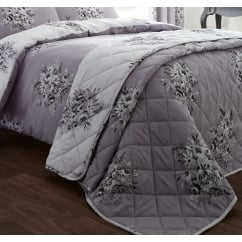 Floral bouquet grey quilted bedspread
