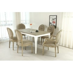 Louis grande solid oak 160cm dining set
