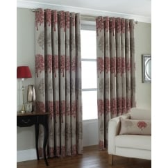 Oakdale trees readymade eyelet curtains red