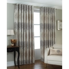 Oakdale trees readymade eyelet curtains silver
