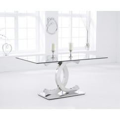Concord 160cm clear glass dining table