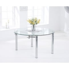 Millenium 145cm ext round glass dining table