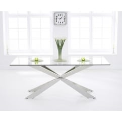 Jazz 160cm glass dining table
