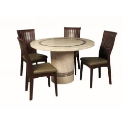 Vittoria marble 120cm round dining set with 4 chairs
