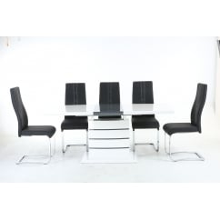 Blanco white gloss dining set with nova chairs