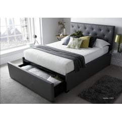 Corbridge grey leather storage bed