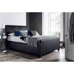 Allendale madras black leather ottoman bed