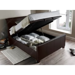 Allendale madras brown leather ottoman bed