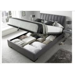 Lanchester elephant grey ottoman fabric bed