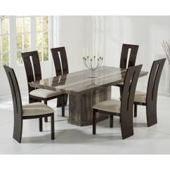 Como brown marble 200cm dining table with valencie chairs