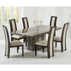 Como brown marble 200cm dining table with rivilino chairs