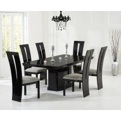 Como black marble 200cm dining table with valencie chairs