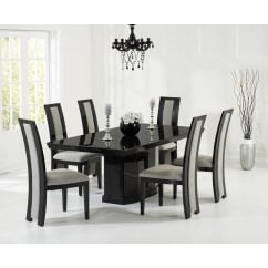 Como black marble 200cm dining set with rivilino chairs