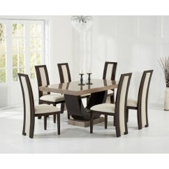 Rivilino brown marble 170cm dining set with rivilino chairs