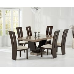 Rivilino brown marble 170cm dining set with valencie chairs