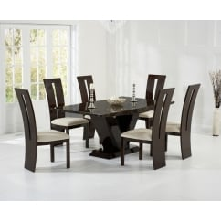 Valencie brown marble dining table with valencie chair.