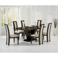 Valencie brown marble dining table with rivilino chair.