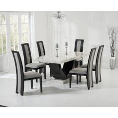 Rivilino cream and black marble 170cm dining set with rivilino chairs